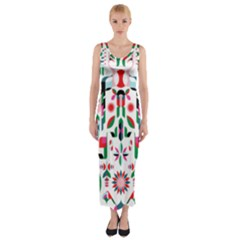 Abstract Peacock Fitted Maxi Dress