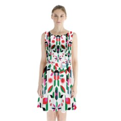 Abstract Peacock Sleeveless Waist Tie Chiffon Dress