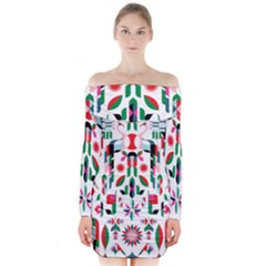 Abstract Peacock Long Sleeve Off Shoulder Dress