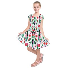 Abstract Peacock Kids  Short Sleeve Dress