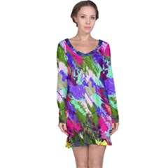 Tropical Jungle Print And Color Trends Long Sleeve Nightdress