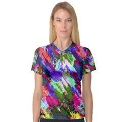 Tropical Jungle Print And Color Trends Women s V Neck Sport Mesh Tee