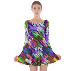 Tropical Jungle Print And Color Trends Long Sleeve Skater Dress