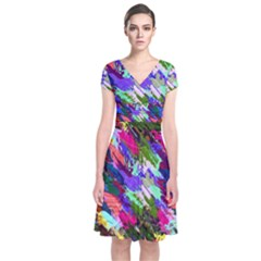 Tropical Jungle Print And Color Trends Short Sleeve Front Wrap Dress