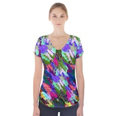 Tropical Jungle Print And Color Trends Short Sleeve Front Detail Top