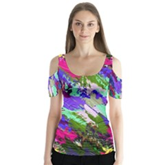 Tropical Jungle Print And Color Trends Butterfly Sleeve Cutout Tee