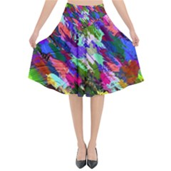 Tropical Jungle Print And Color Trends Flared Midi Skirt