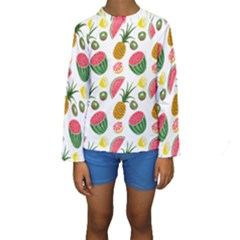 Fruits Pattern Kids  Long Sleeve Swimwear