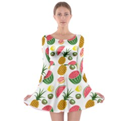 Fruits Pattern Long Sleeve Skater Dress