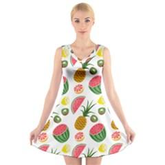 Fruits Pattern V Neck Sleeveless Skater Dress