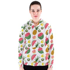 Fruits Pattern Women s Zipper Hoodie
