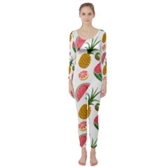 Fruits Pattern Long Sleeve Catsuit