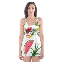 Fruits Pattern Skater Dress Swimsuit