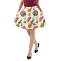 Fruits Pattern A-Line Pocket Skirt
