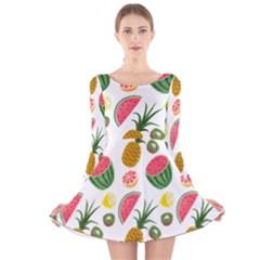 Fruits Pattern Long Sleeve Velvet Skater Dress