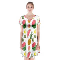 Fruits Pattern Short Sleeve V-neck Flare Dress