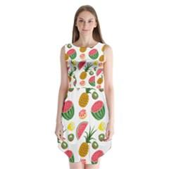 Fruits Pattern Sleeveless Chiffon Dress