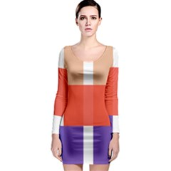 Compound Grid Long Sleeve Bodycon Dress