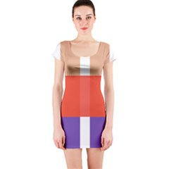 Compound Grid Short Sleeve Bodycon Dress