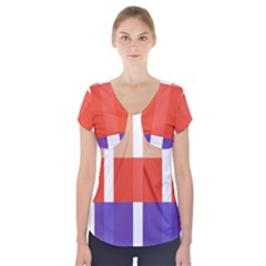 Compound Grid Short Sleeve Front Detail Top