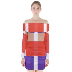 Compound Grid Long Sleeve Off Shoulder Dress