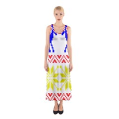 Jacquard With Elks Sleeveless Maxi Dress