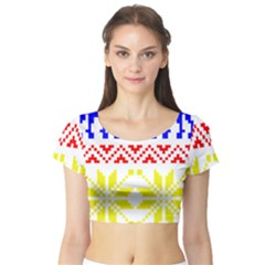 Jacquard With Elks Short Sleeve Crop Top (tight Fit)