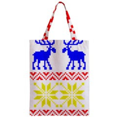 Jacquard With Elks Zipper Classic Tote Bag