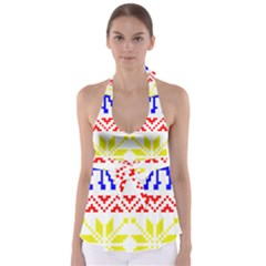 Jacquard With Elks Babydoll Tankini Top
