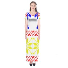 Jacquard With Elks Short Sleeve Maxi Dress