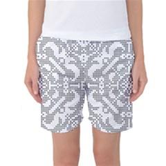 Mosaic Pattern Cyberscooty Museum Pattern Women s Basketball Shorts