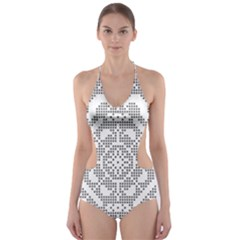 Mosaic Pattern Cyberscooty Museum Pattern Cut Out One Piece Swimsuit