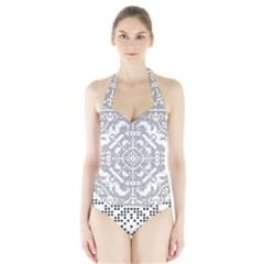 Mosaic Pattern Cyberscooty Museum Pattern Halter Swimsuit