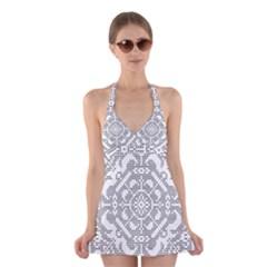 Mosaic Pattern Cyberscooty Museum Pattern Halter Swimsuit Dress