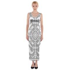 Mosaic Pattern Cyberscooty Museum Pattern Fitted Maxi Dress