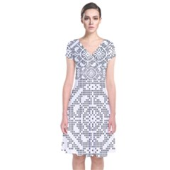 Mosaic Pattern Cyberscooty Museum Pattern Short Sleeve Front Wrap Dress