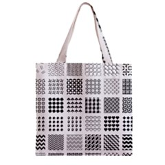 Retro Patterns Zipper Grocery Tote Bag