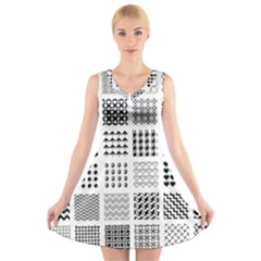 Retro Patterns V Neck Sleeveless Skater Dress