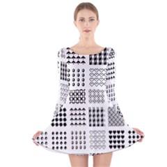 Retro Patterns Long Sleeve Velvet Skater Dress