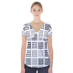 Retro Patterns Short Sleeve Front Detail Top