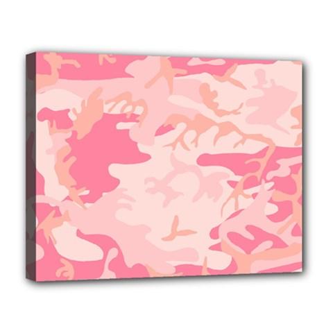 Pink Camo Print Canvas 14  X 11