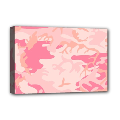 Pink Camo Print Deluxe Canvas 18  x 12