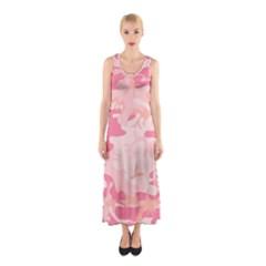 Pink Camo Print Sleeveless Maxi Dress