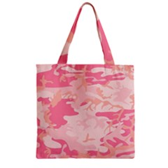 Pink Camo Print Zipper Grocery Tote Bag