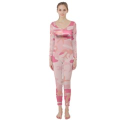 Pink Camo Print Long Sleeve Catsuit