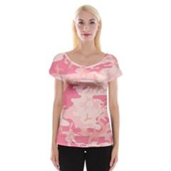 Pink Camo Print Women s Cap Sleeve Top