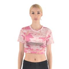 Pink Camo Print Cotton Crop Top