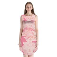 Pink Camo Print Sleeveless Chiffon Dress