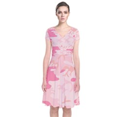 Pink Camo Print Short Sleeve Front Wrap Dress