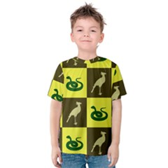 Bird And Snake Pattern Kids  Cotton Tee